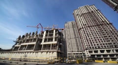 Panorama of the construction site of high-rise buildings Stock Footage