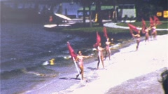 Pretty Girls Carry Flags Unison Water Ski Show 1950s Vintage Film Home Movie 370 Stock Footage
