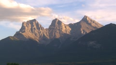 Three Sisters mountains, Canmore Alberta, iconic Stock Footage