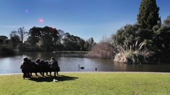Family together in the Melbourne Botanic Gardens Stock Footage