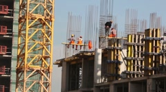Workers on building carcass Stock Footage