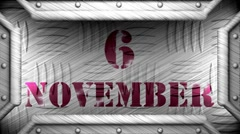 6 november on steel stamp Stock Footage