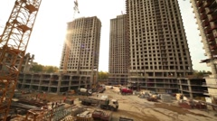 Panorama of construction site Stock Footage