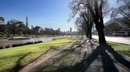 Melbourne Skyline along the Yarra River Stock Footage