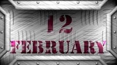 12 february on steel stamp Stock Footage