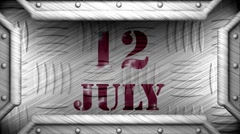 12 july on steel stamp Stock Footage