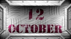 12 october on steel stamp Stock Footage