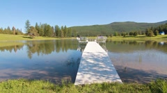 Pond with dock dolly Stock Footage