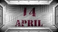 14 april on steel stamp Stock Footage