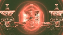 Abstraction - light round a Buddhist altar Stock Footage