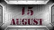 15 august on steel stamp Stock Footage