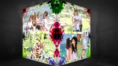 3D Animation-Cube of Family Vacations - stock footage