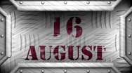 16 august on steel stamp Stock Footage