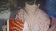 Man Plays Accordion MUSIC INSTRUMENT 1950s Vintage Film Home Movie 383 Stock Footage