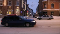 Winter afternoon in a small town in northern Sweden Stock Footage