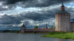 Clouds and monastery. HDR. Stock Footage