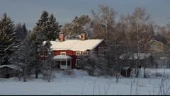 Traditional Swedish farm-house Stock Footage