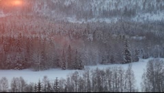 Wintersun setting shortly after noon in midwinter. Västernorrland, Sweden Stock Footage