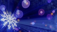 Rotating snowflake and lights seamless loop background Stock Footage
