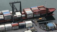 Stock Video Footage of Cargo Ship Unloads Containers ED