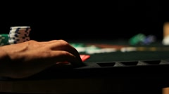 PokerTappingFinger Slider Shot Stock Footage