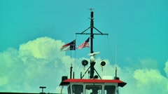 mast of a ferry along the outer banks - stock footage
