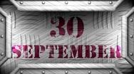 30 september on steel stamp Stock Footage