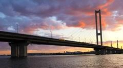 Time lapse: Southern Bridge in Kiev, Ukraine Stock Footage
