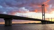 Stock Video Footage of Time lapse: Southern Bridge in Kiev, Ukraine