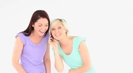 Excited young women with a phone Stock Footage