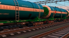 Freight train with petroleum tank cars - stock footage