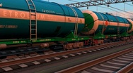 Stock Video Footage of Freight train with petroleum tank cars