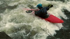 Whitewater kayaker slow motion Stock Footage