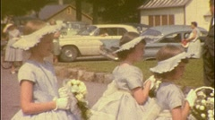 Bride Groom Bridesmaids BIG WEDDING 1950S Vintage Film 8mm Home Movie 395 - stock footage