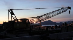 Thai Construction Site at Sunset Wide Stock Footage