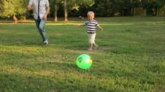 Father and son playing ball in the meadow - stock footage