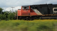 Stock Video Footage of Freight train and engines.