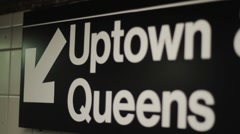 NYC Subway Terminal Sign Stock Footage