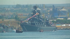 "Guards missile cruiser ""Moscow"". Day of Russian Navy. Stock Footage"