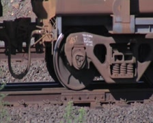 Iron ore train wheels- Port Hedland- Australia Stock Footage