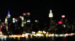 Stock Video Footage of Manhattan New York City Skyline at Night Rack Focus Stock Video