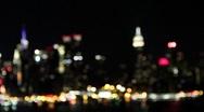 Manhattan New York City Skyline at Night Rack Focus Stock Video Stock Footage
