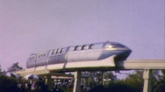 Monorail at Disneyland Theme Park Futuristic 1960s Vintage Film Home Movie 402 Stock Footage
