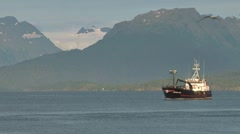 Crabbing Vessel Approaching Harbor 1 Stock Footage