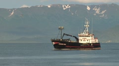 Crabbing Vessel Approaching Harbor 2 Stock Footage