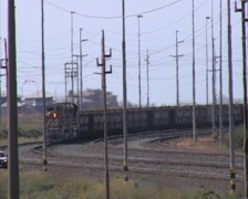 Full iron ore train front on- Port Hedland- Australia Stock Footage