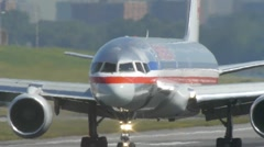 American AA airlines jet airplane runway turn laguardia Stock Footage