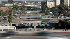 Heavy Downtown Traffic in Los Angeles - Time Lapse Stock Footage