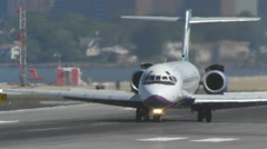 Jet airplane moving runway laguardia airport delta - stock footage