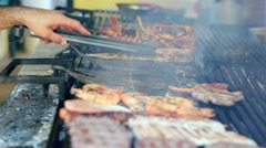Seafood On A Barbecue Grill Stock Footage
